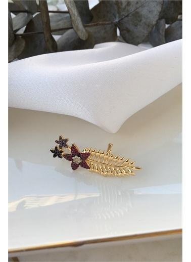 My Joyas Design My Joyas Design Renkli ÇiÇek ve Yaprak Görünümlü  Kadın Kıkırdak Küpe Altın